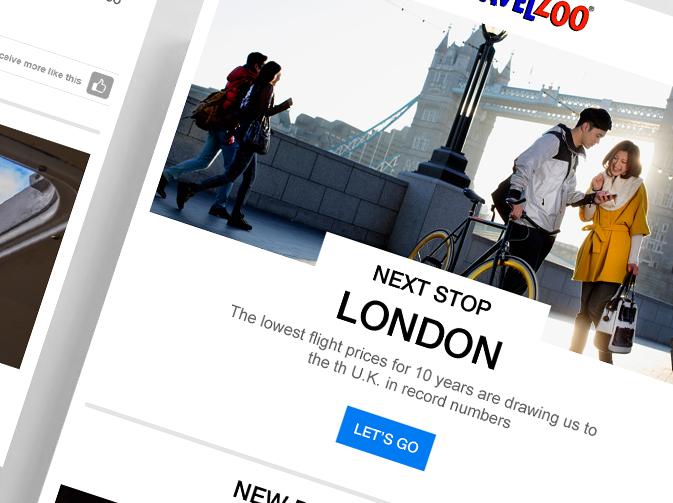 UI Email design for Travelzoo.com