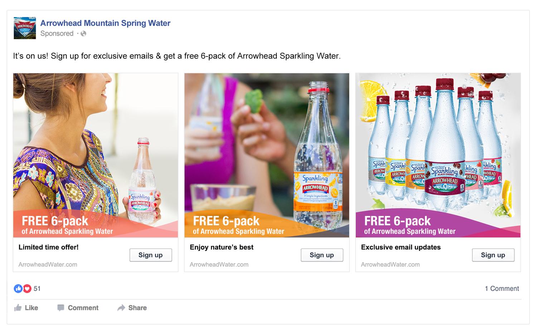 Arrowhead Water Facebook Ads